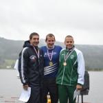 Nejlepší muži na 20km - zleva: Jan Pošmourný, Karel Baloun (oba Kometa Brno), Matěj Kozubek (Bohemians Praha)